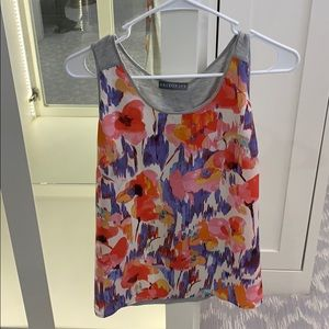 Brixon Ivy floral and gray sleeveless blouse.